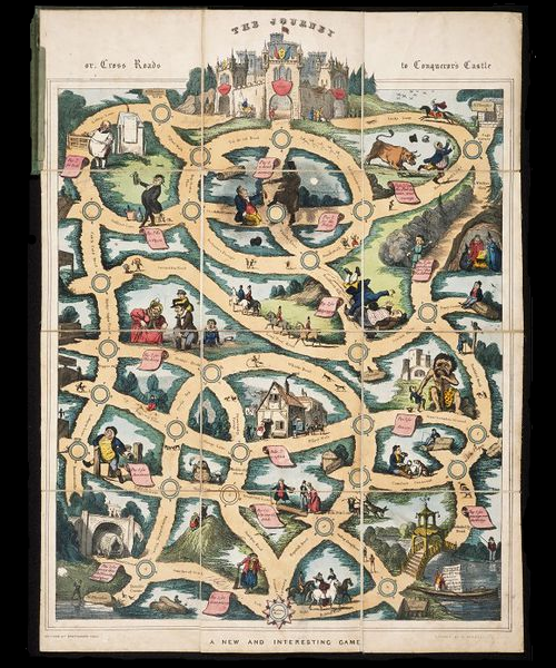 The Journey Or Cross Roads To Conquerors Castle Hand Coloured Game Published In