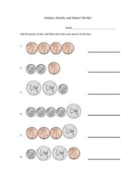 Simple Penny Nickel And Dime Addition Worksheet Addition
