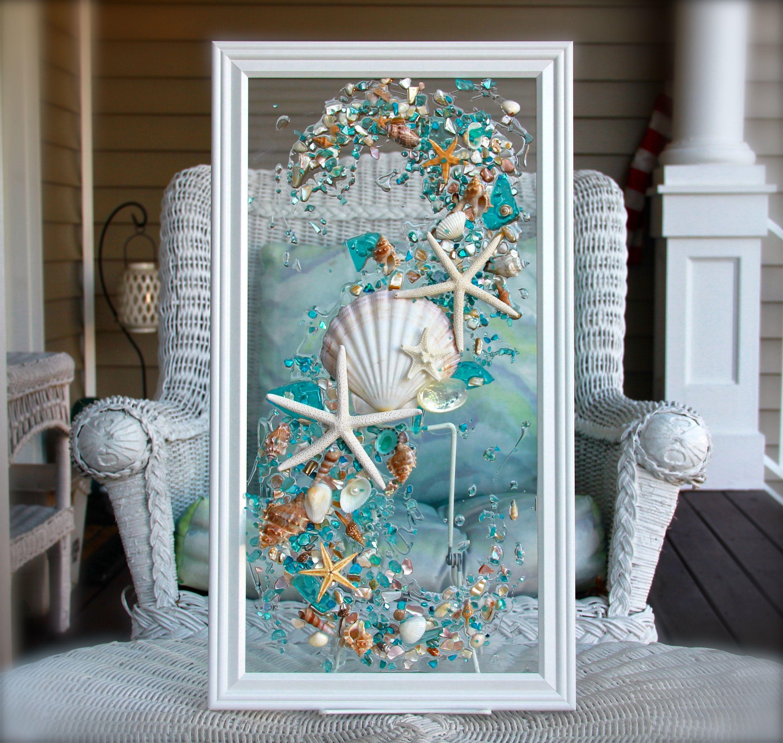 Sea Glass Art For Beach Decor Seashell Wall Art For Nautical Bathroom Turquoise Beach Home Decor Wall Hanging Coastal Decor Seashell Wall Art Starfish Wall Art Beach Glass Art Nautical bathroom wall decor