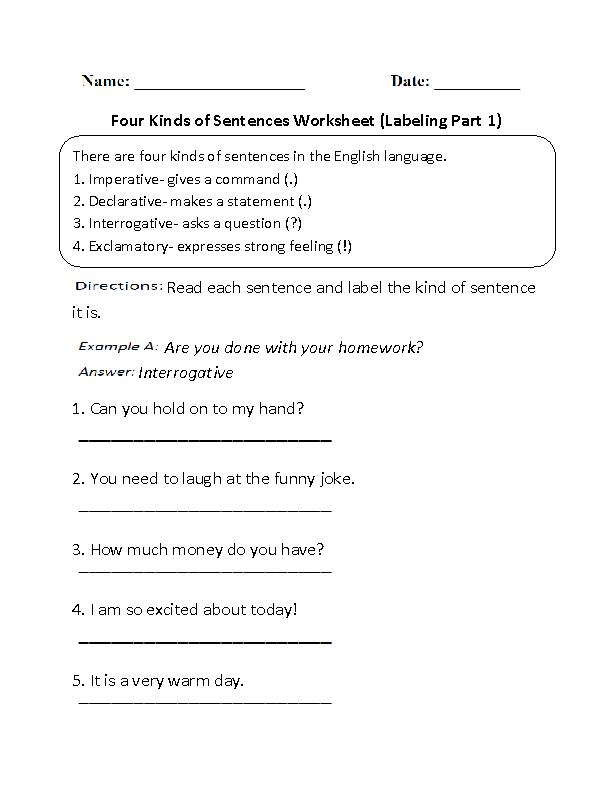 Labeling Four Kinds Of Sentences Worksheet Kinds Of Sentences Types Of Sentences Types Of Sentences Worksheet