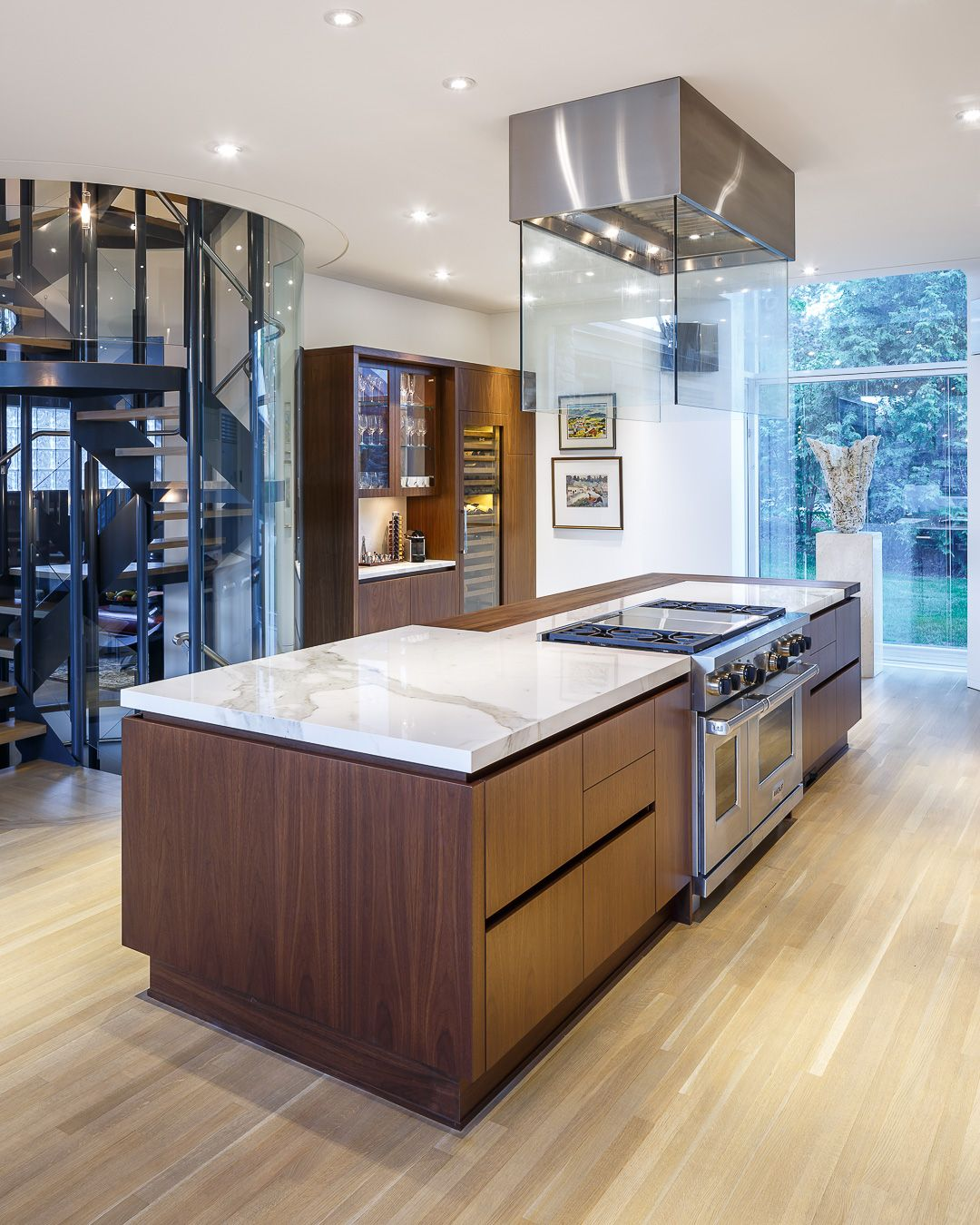 Contemporary White Kitchen Design Butcher Block