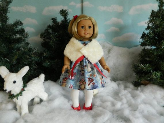 American Girl Christmas dress fur wrap and tights by SewCuteJune