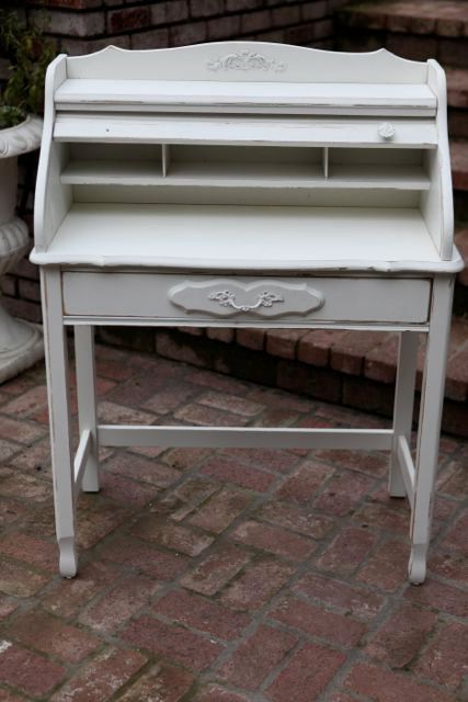 Gorgeous French Petite Secretary Desk With Roll Top Hutch