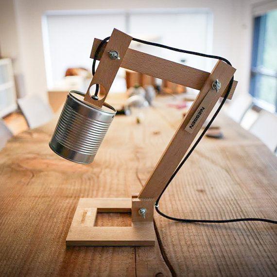 Silver Desk Lamp Silver Lamp Shade Original Lamp Recycled Cans Recycle Can Desk Lamps Wood Desk Lamp Lights Wood Lamp Wood Gift Con Imagenes Escritorio De Madera Lampara De Escritorio Lampara