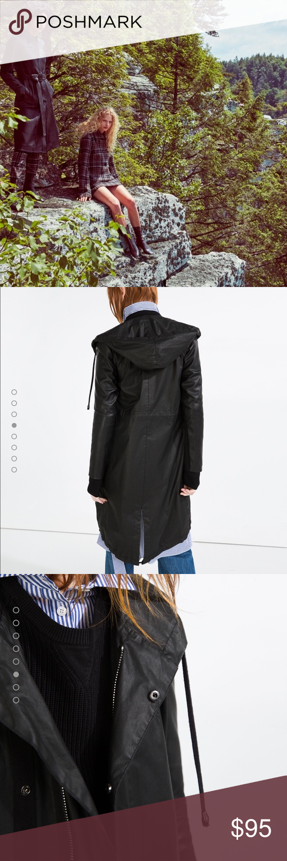 Zara windbraker anorak long parka ,hoodie raincoat Sold out everywhere, super comfy to wear great fit , additional pics available on another listing,ONLY ONE AVAILABLE, Sz S , very light weight but super protective!!! Zara Jackets & Coats