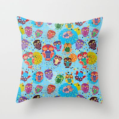 colorful owls on a blue background Throw Pillow