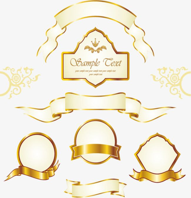 Vintage Gold Label Holiday Banners Colored Ribbon Golden Png
