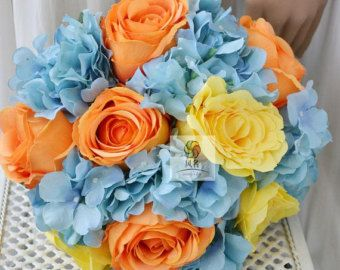 orange blue yellow rose hydrangea daisy weddig bouquet artificial flower