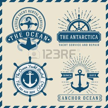 Save to a lightbox  Find Similar Images  Share Stock Vector Illustration: Nautical, Navigational, Seafaring and Marine insignia logotype vintage design with anchor, rope, steering wheel, star burst, sunburst  Only Free Font Used, Vector illustration photo