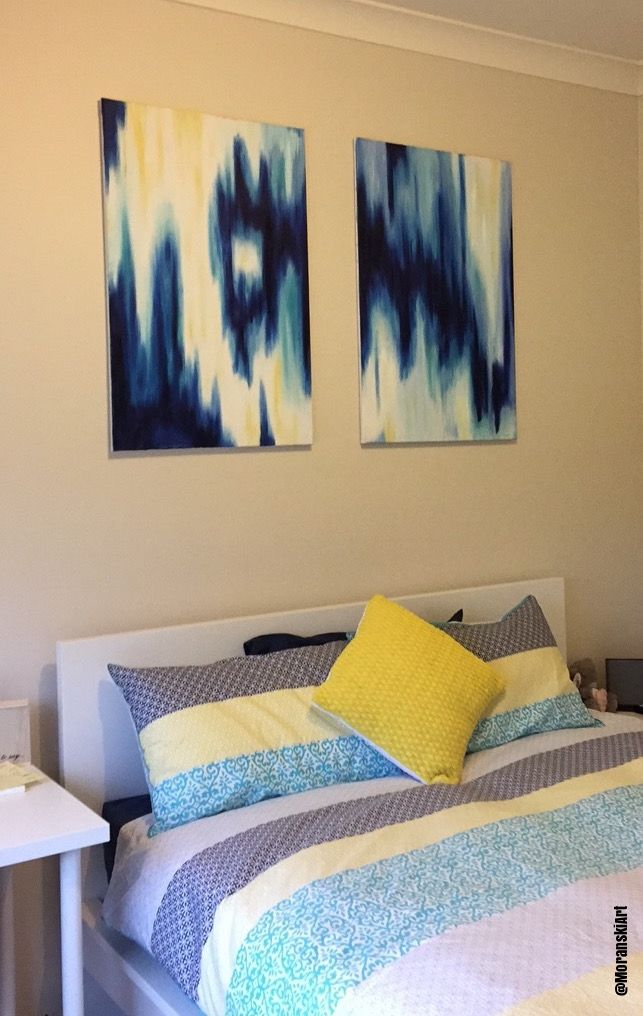 A unique abstract painting - This Ikat pattern style painting ...