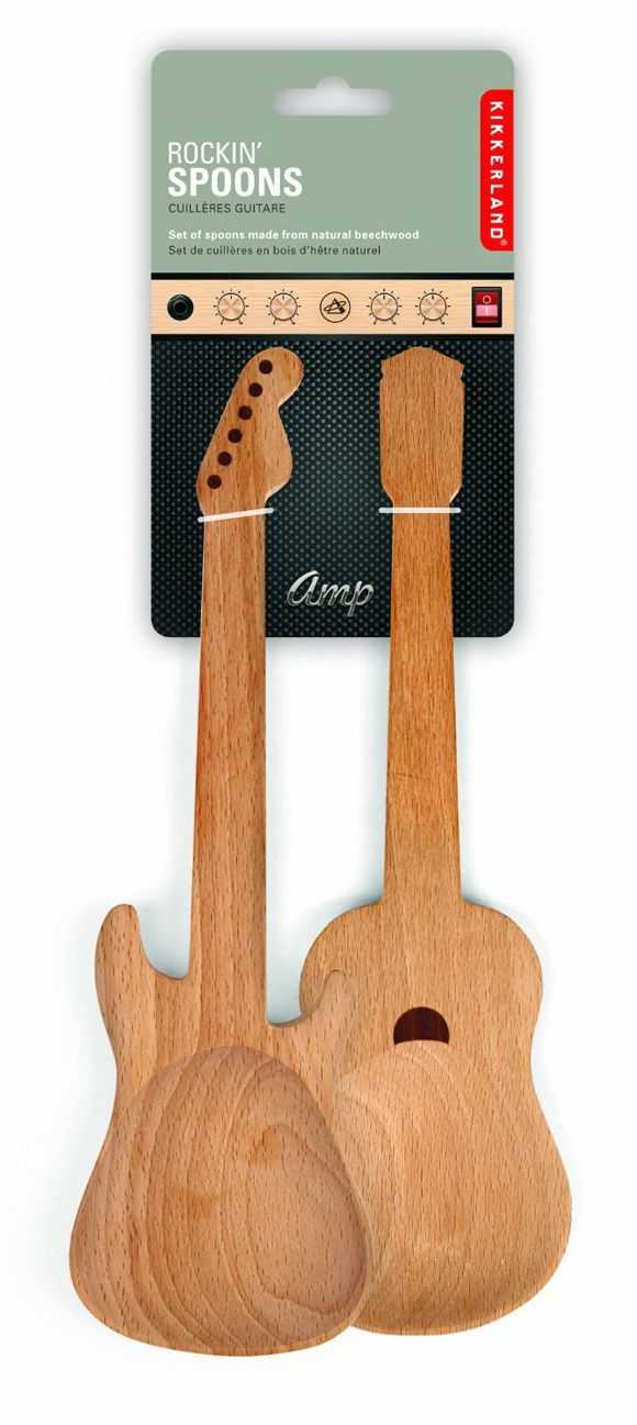 Guitarshaped wooden spoons