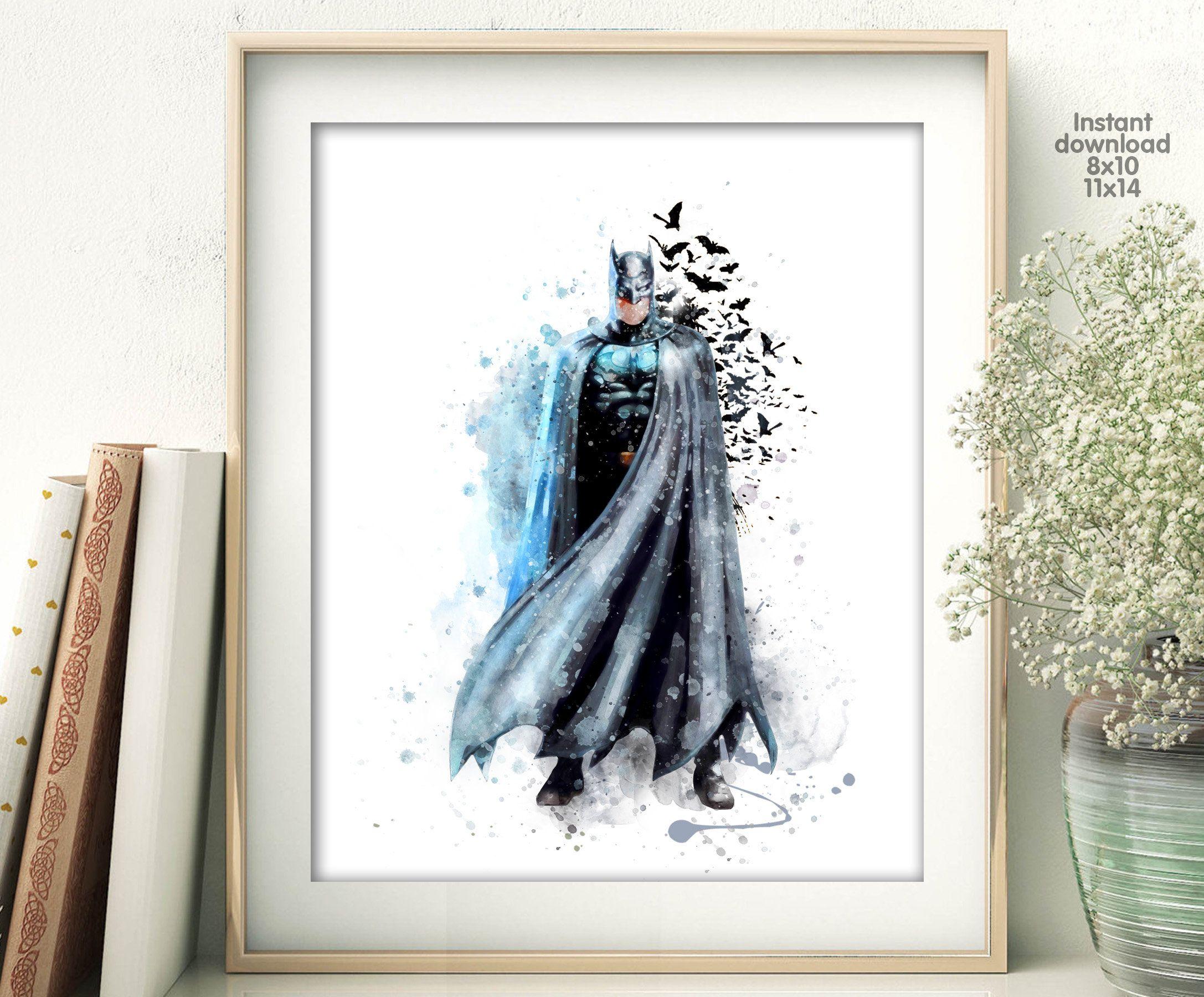 Batman Print, Watercolor Superhero batman decor batman wall art DC Comics Marvel Nursery Bedroom batman printables Giclee Art superhero gift #superherogifts