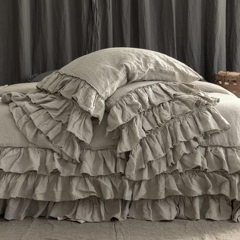 Linen Duvet Cover Linen Bedding Set French Style Thick Ruffled