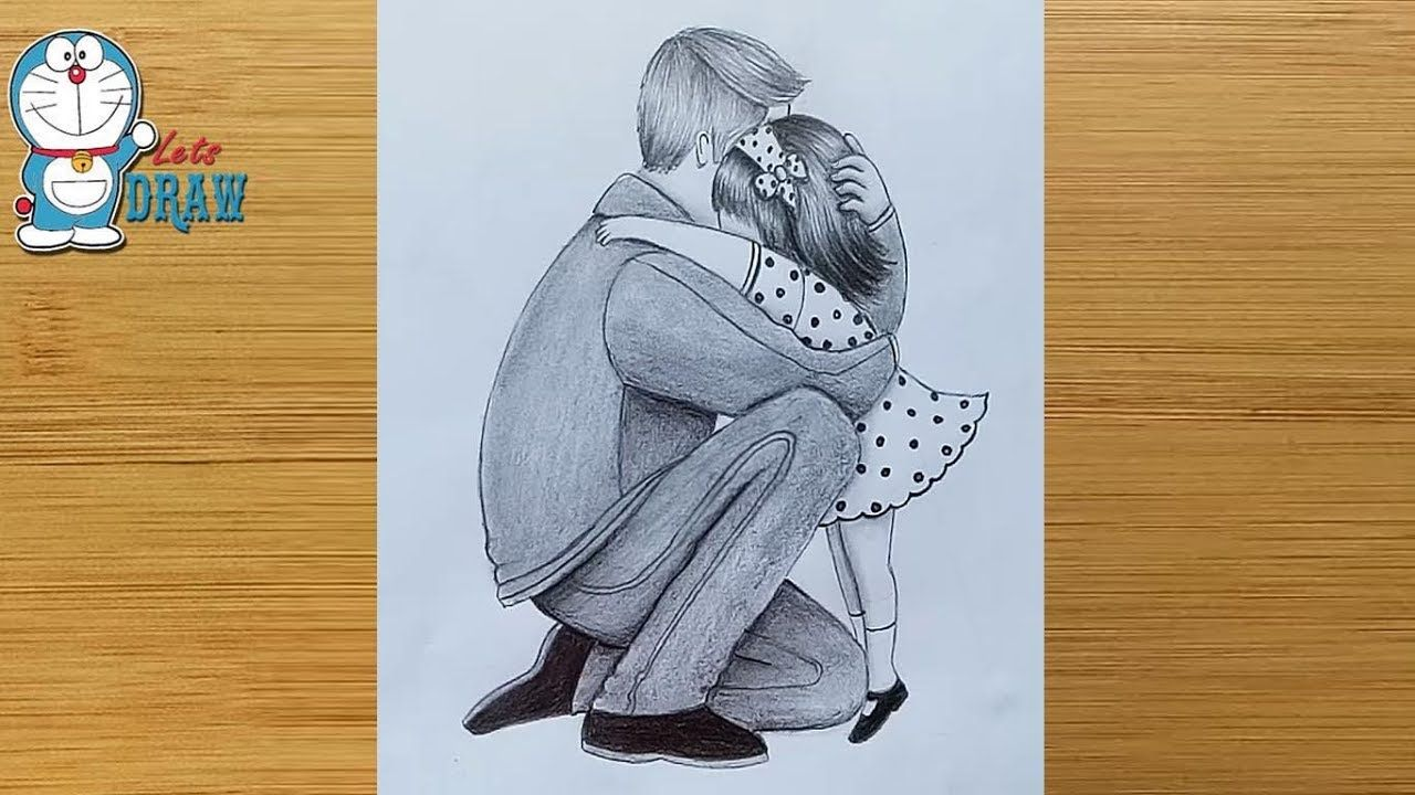 Father Daughter Heart Touching Drawing How To Draw Father