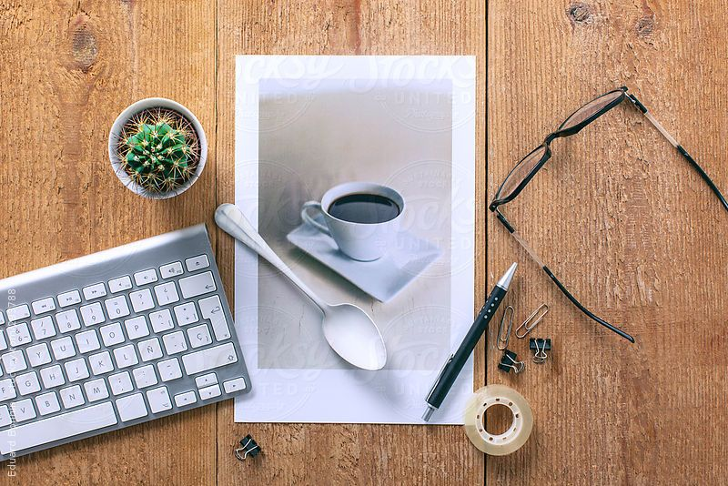 Coffee photo and business objects on a desktop. by BONNINSTUDIO | Stocksy United