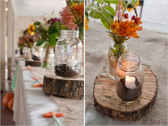 Fall inspired heart and arrow wedding ideas fall table fall inspired heart and arrow wedding ideas rustic wedding decorationsfall junglespirit Choice Image