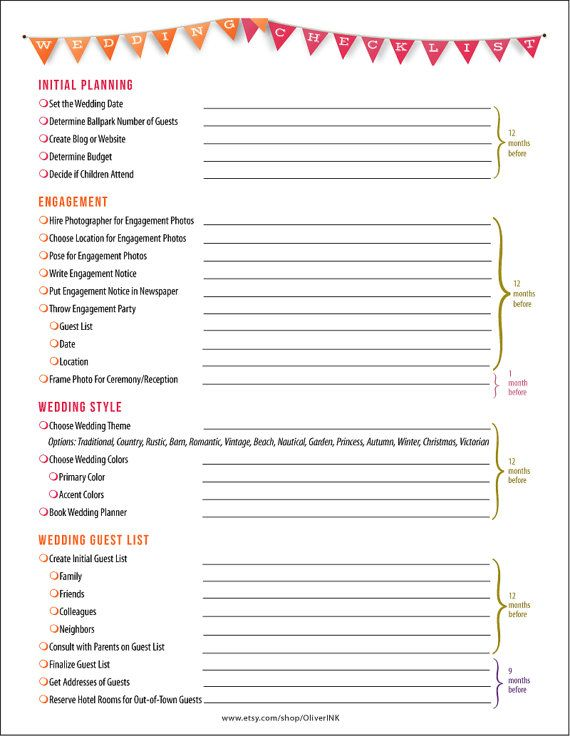 Wedding Checklist In Orange And Pink   Pages Printable Pdf