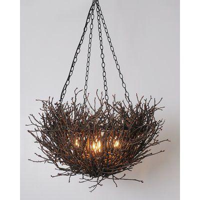 Loon Peak Torres Nest Branch Twig 5-Light Unique / Statement Geometric Chandelier | Wayfair