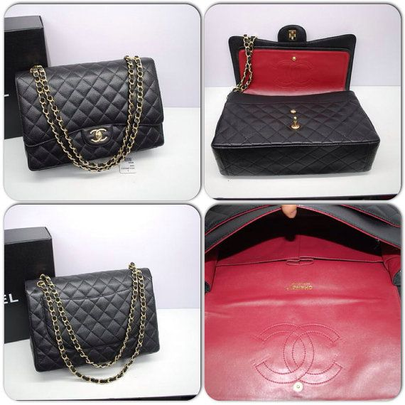 Chanel Maxi Double Flap Bag Black Original Caviar Leather Gold On Etsy 360 00 Online