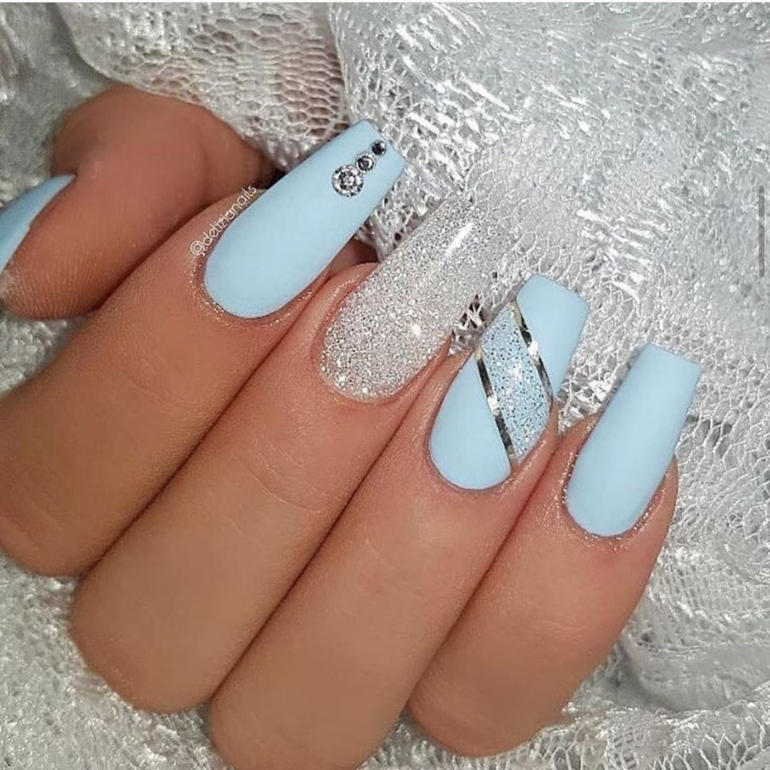 100 Spring Nail Art Designs For Women 2020 In 2020 Blue Acrylic