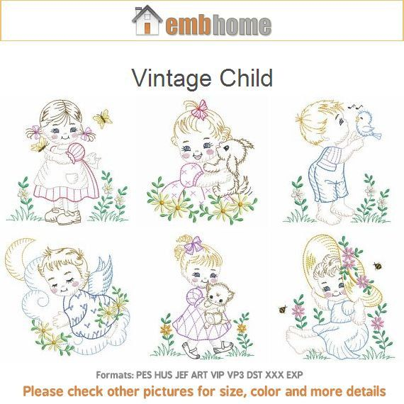 Vintage Child Machine Embroidery Designs Pack Instant Download 4x4 ...