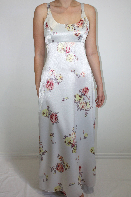 Retro 90s Dress Satin Maxi Dress - Vintage Women\'s Size 10 - 90s ...