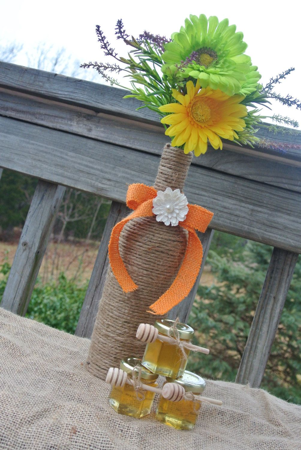 Rustic Wedding Decoration Burlap Centerpiece Wine Bottle