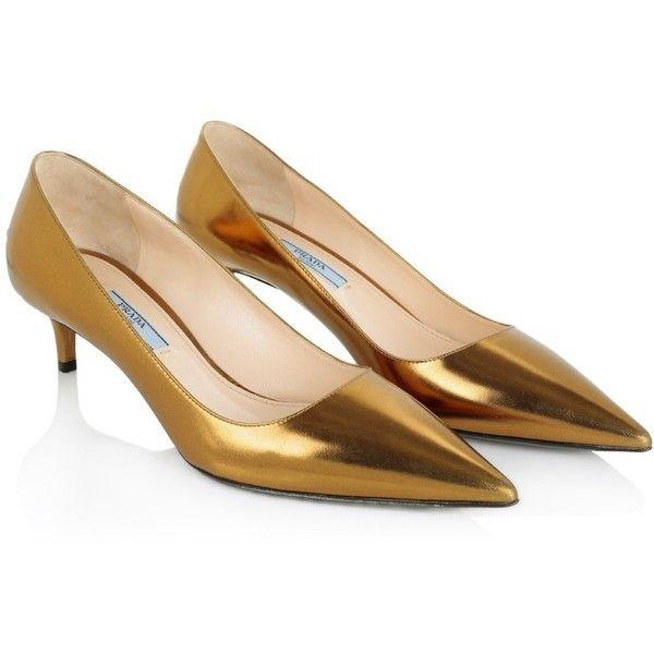 Prada Pumps Kitten Heel Pump Gold Shoe Kitten Heel Pumps Gold Shoes Gold Pumps