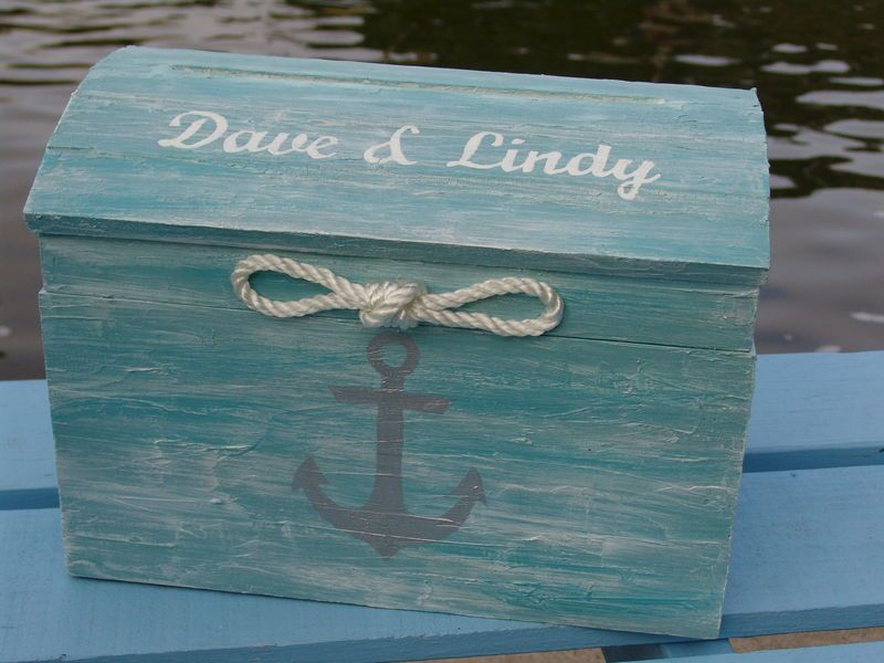 Personalized Tiffany Blue Nautical Themed Beach Wedding Card Box