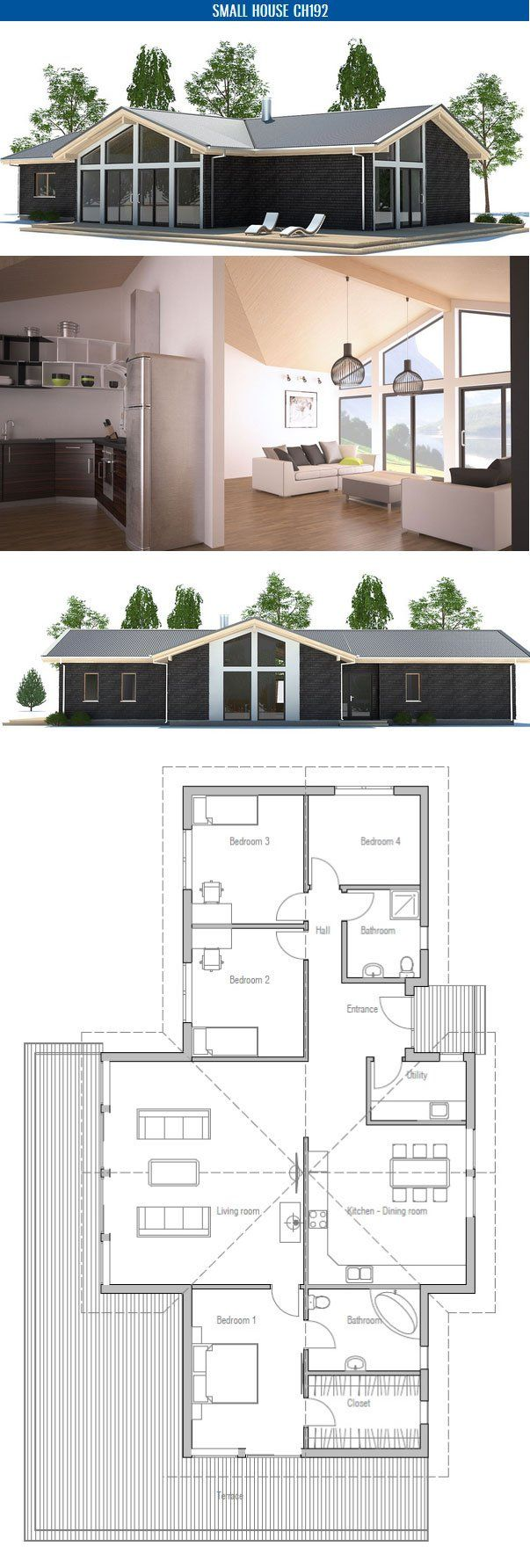 Small House Plan with four bedrooms and
