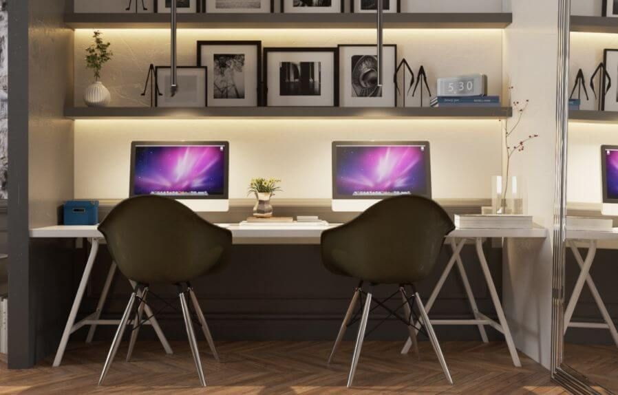 45 Best Two Person Desk Design Ideas For Your Home Office Workspace With Images Office Interior Design Traditional Home Offices