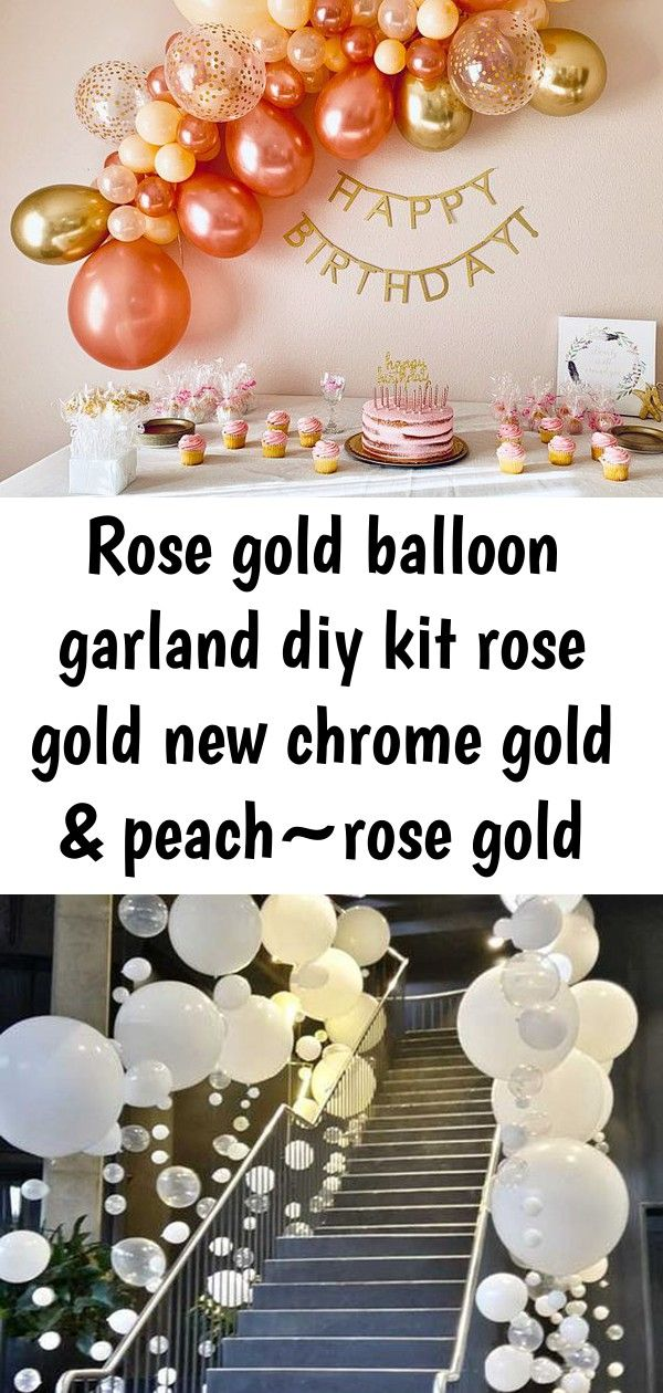 Rose gold balloon garland diy kit rose gold new chrome
