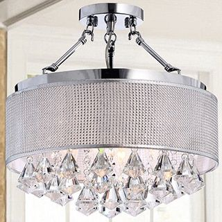 Yessica Rhinestone Silver Shade Semi-flush Mount Crystal Chandelier by The Lighting Store