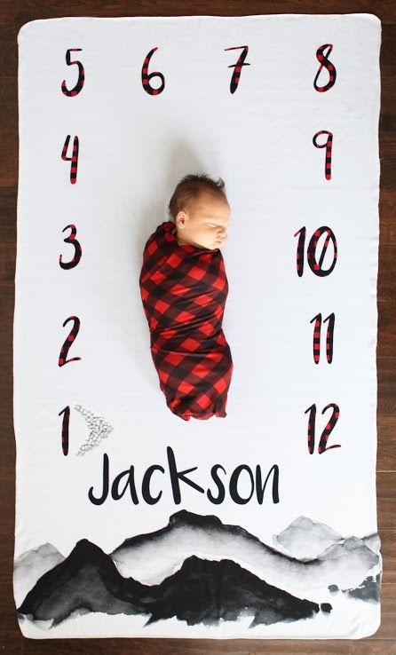 276f1d339e Personalized Milestone Blanket - Mountains and Buffalo Check swaddle blanket!  Shop your favorite newborn baby fall styles at SugarBabies boutique!