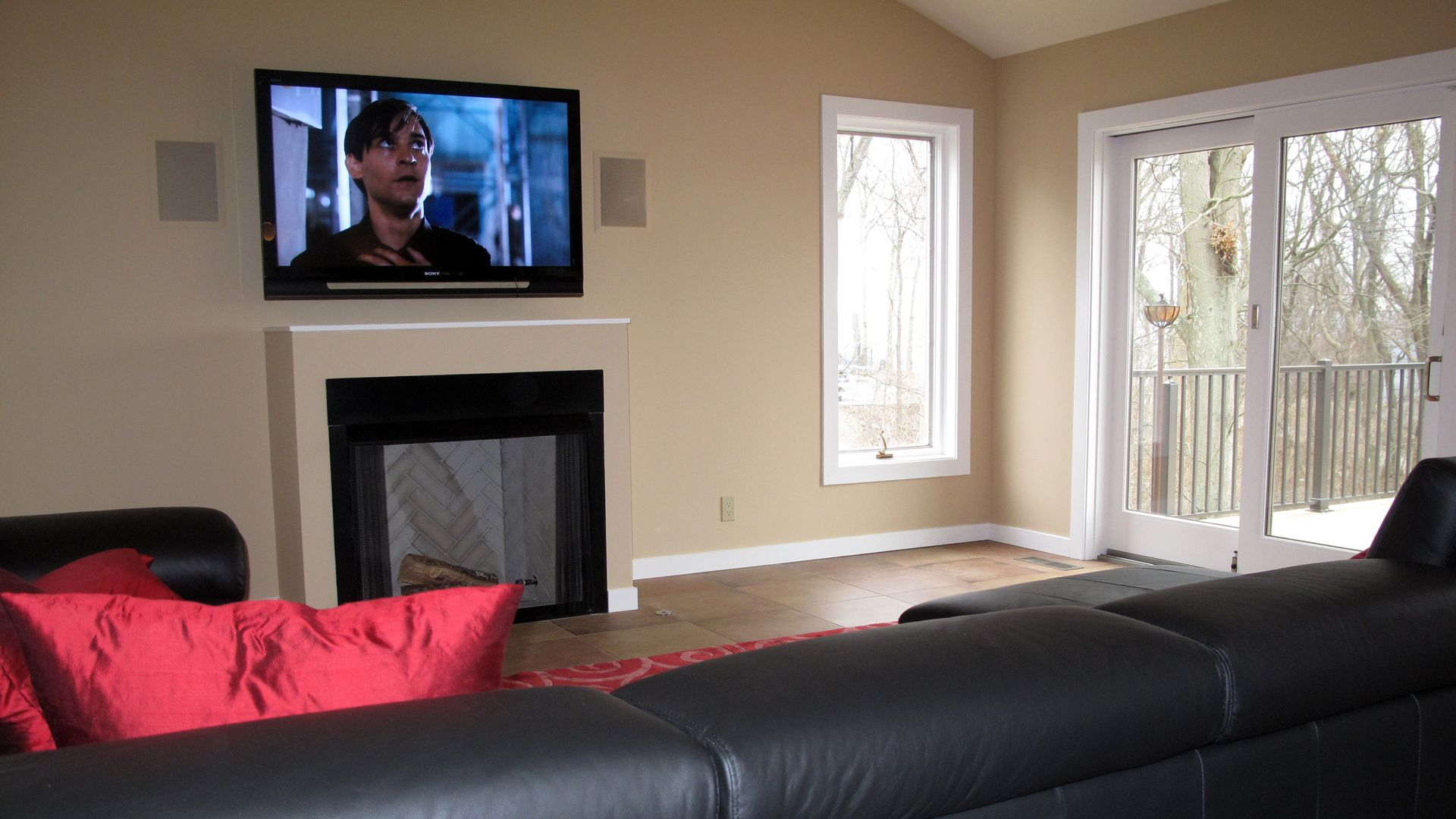 Tv Over A Fireplace With In Wall Speakers Audio Video