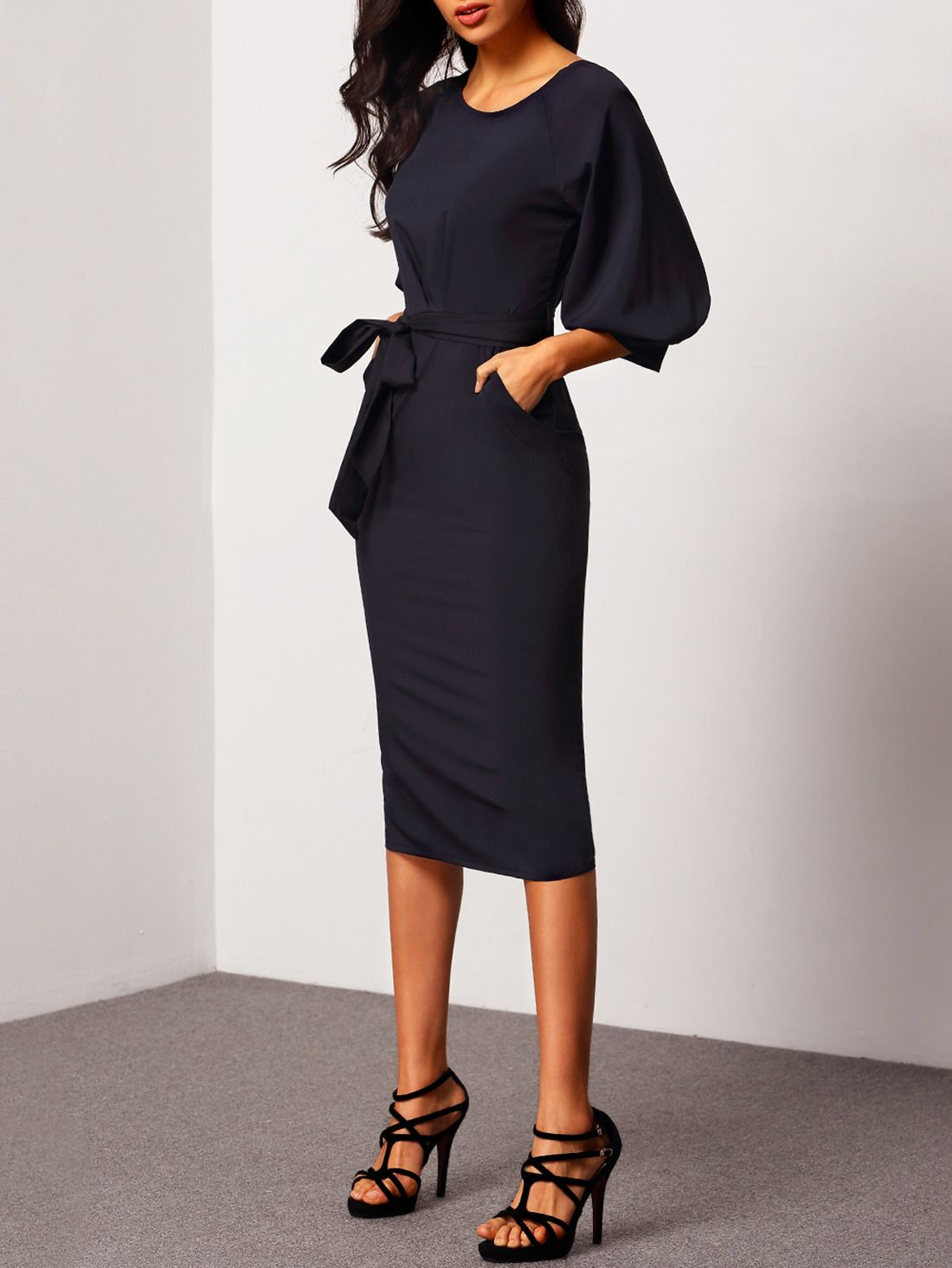 Puff Sleeve Dress With Belt | Dress online, Lbd and Shopping