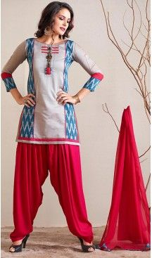 Panjabi Dove Chanderi Silk Straight Cut Readymade Patiyala Suit   FH461972119