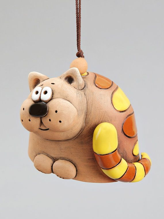 Ceramic Animal Bells :Turtle Cat Mouse Dog. от Molinukas на Etsy