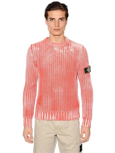 Stone Island Corrosion Effect Cotton Rib Knit Sweater Red Coral