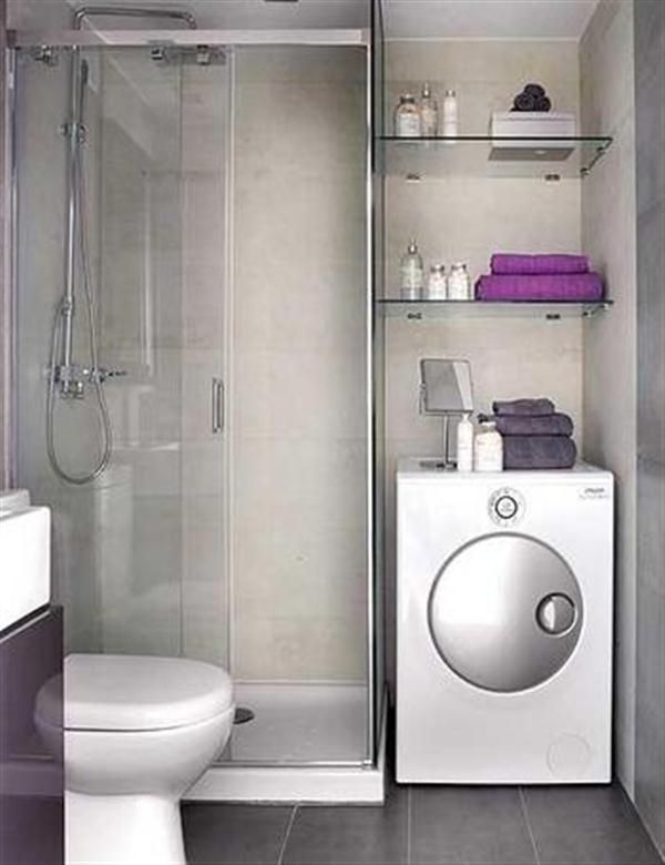Bathroom Designs For Small Bathrooms small bathroom with toilet, glass shower room, laundry and
