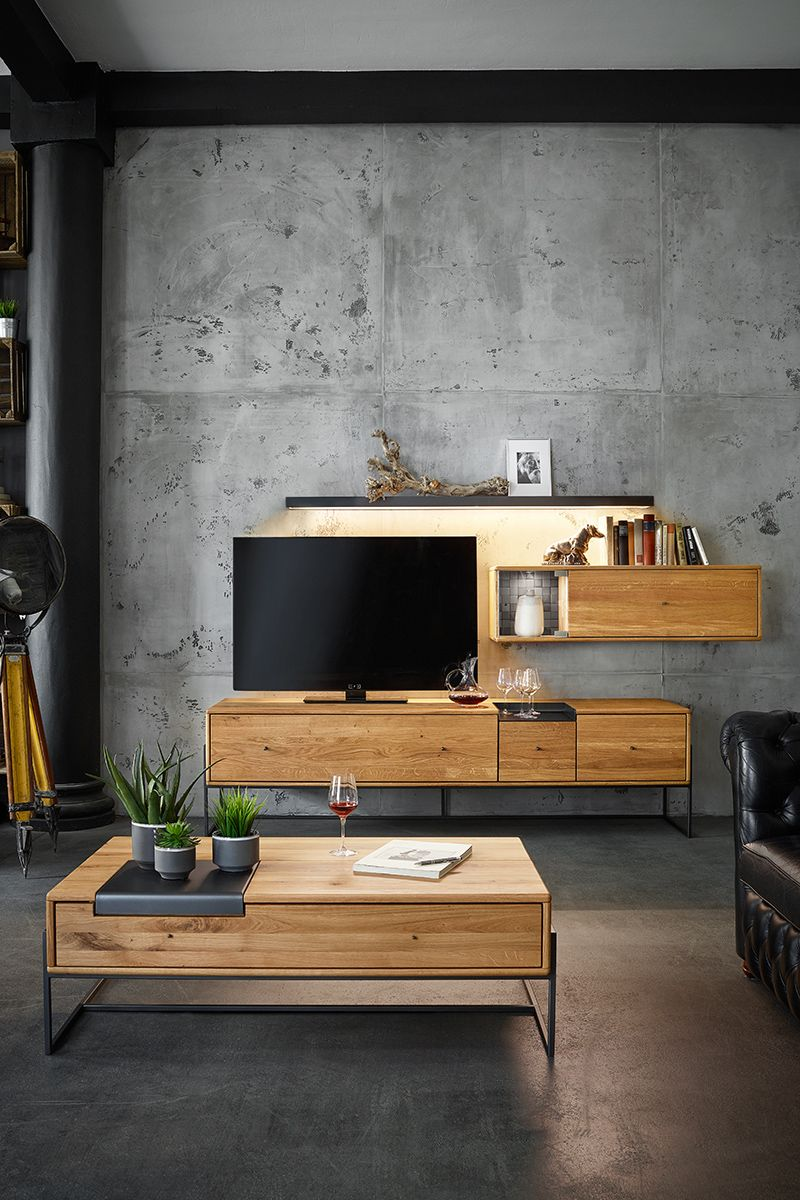 Warmes Massivholz Und Kuhler Beton Ein Toller Kontrast Furs