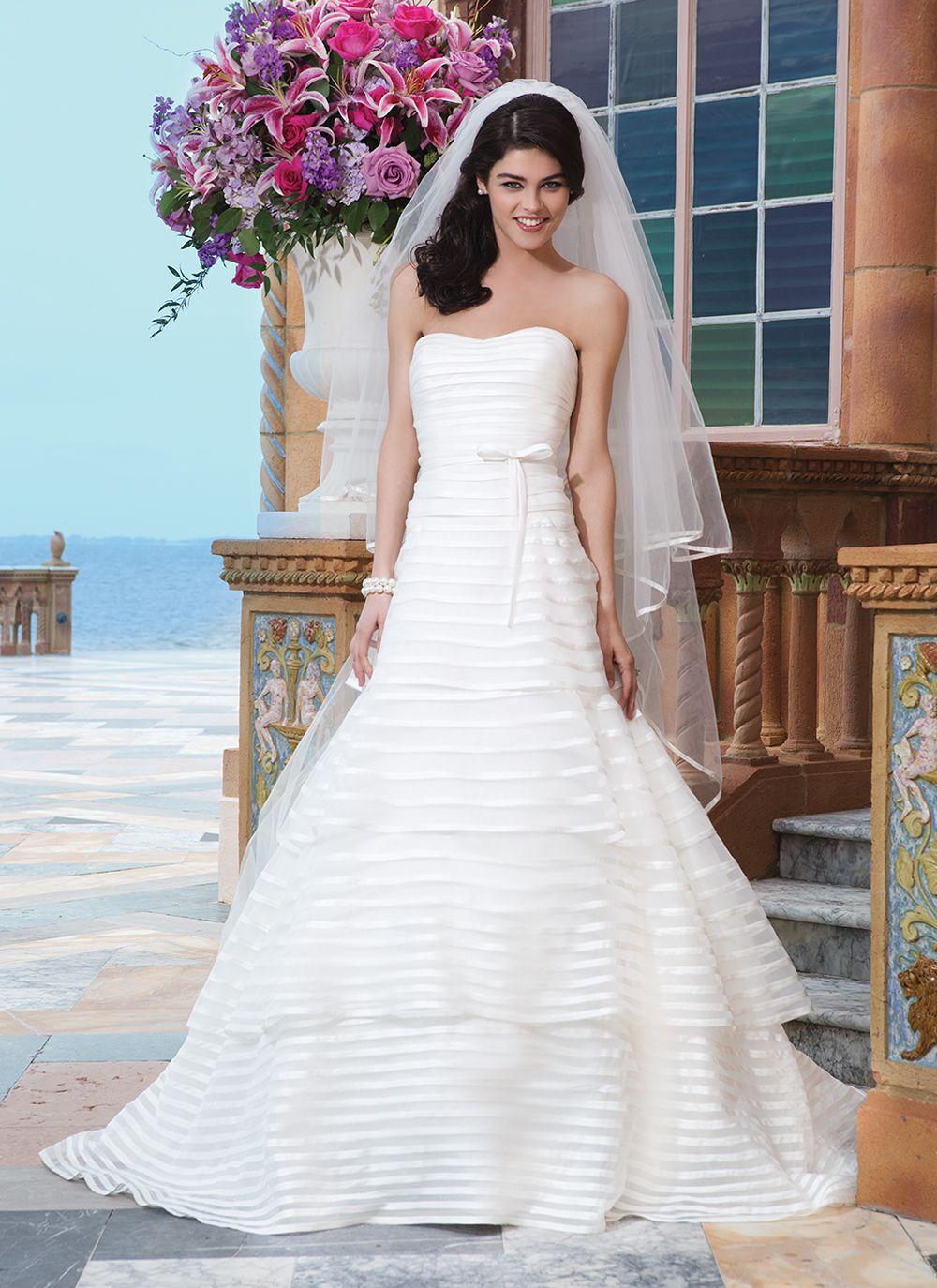 Sincerity wedding dress style organza matte satin aline dress