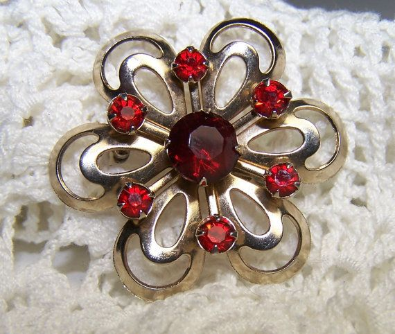 Beautiful Red Rhinestone Brooch Flower Gold by ConnisCollections, $5.00