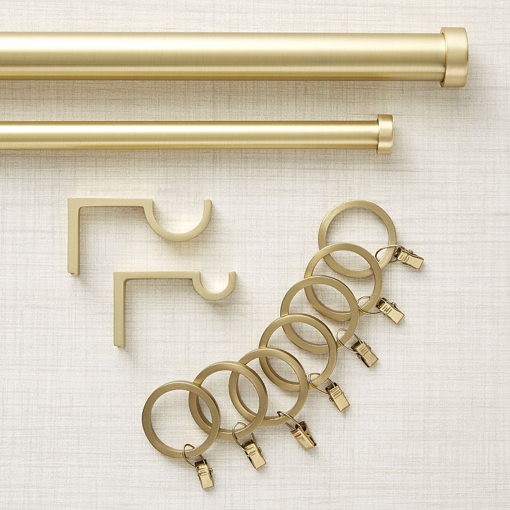 "CB Brushed Brass 1.25""dia.x88""-120"" Curtain Rod Set"