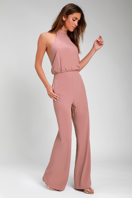 Moment For Life Dusty Pink Halter Jumpsuit Halter Jumpsuit Pink Jumpsuits Outfit Black Backless Jumpsuits