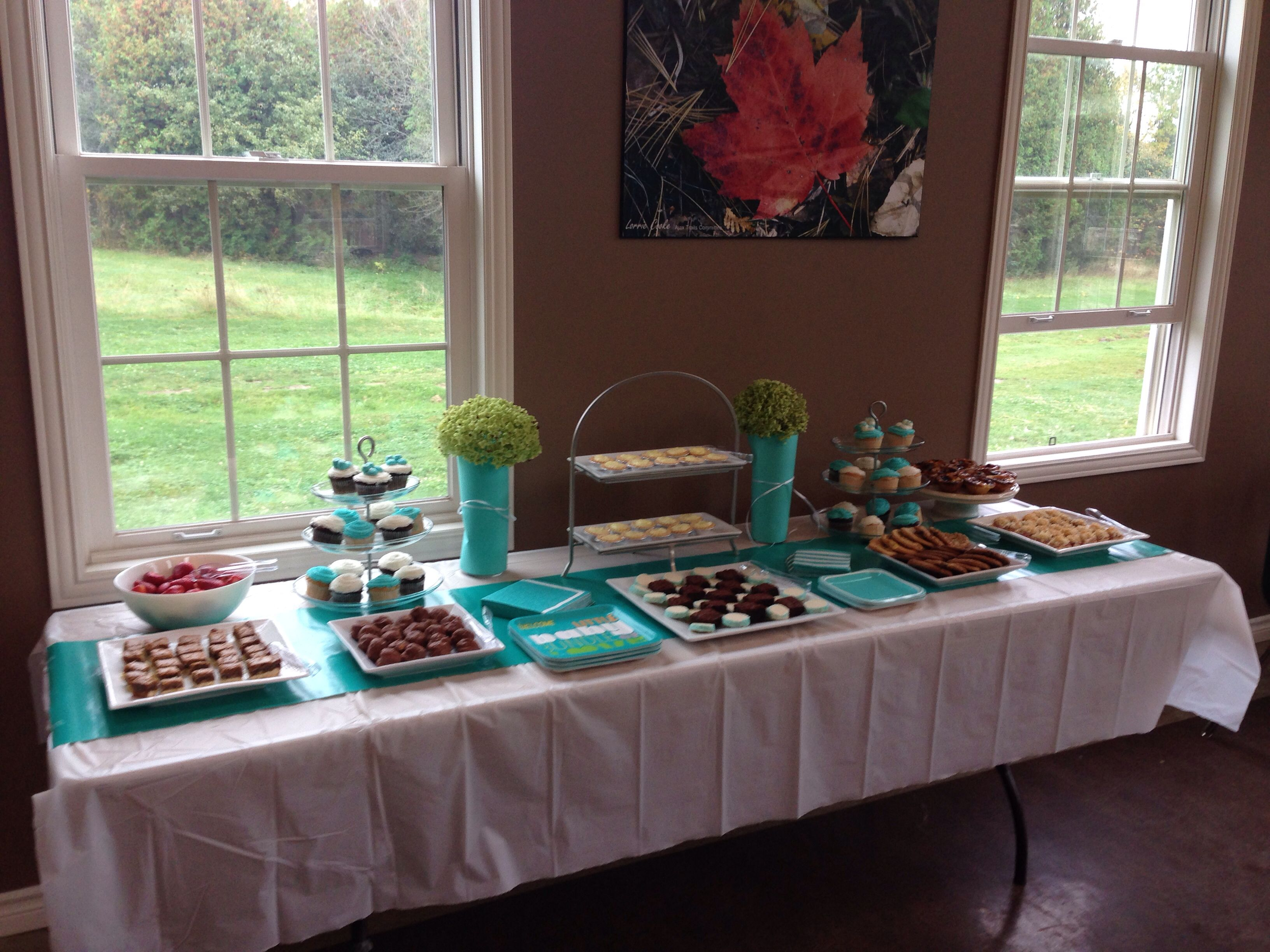 Superb Dessert Table, Tiffany Blue Wrapping Paper As A Table Runner And Tiffany  Blue Card Stock