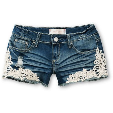 44d9e3fe14 Get a feminine and fun look just in time for the Spring with the Kara  Crochet Medium Wash Denim Shorts from Almost Famous. These cut-off shorts  are made ...