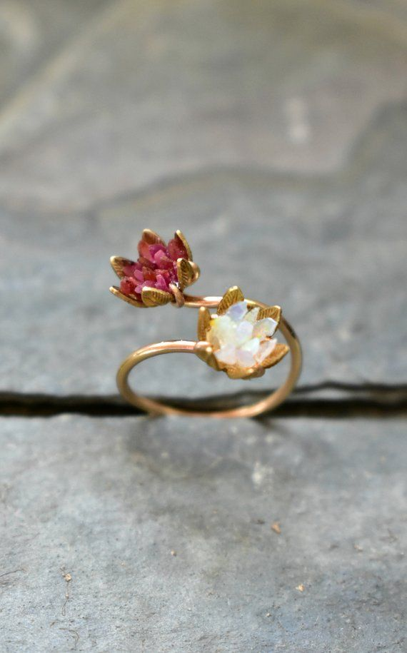 Unique Opal Ring, Lotus Flower Ring & Yellow Gold, Uncut Gemstone Engagement Ring, Red and Pink Rose Floral Ring Women, Custom Mothers Ring