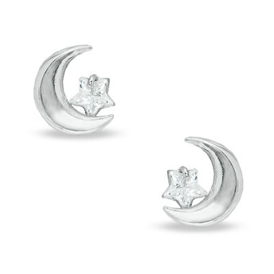 Moon With Star Shaped Cubic Zirconia Stud Earrings In 14k White Gold Pagoda Com Diamond Earrings Studs Stud Earrings Star Shape
