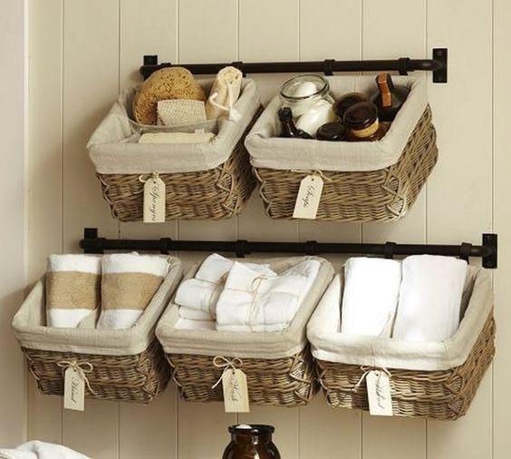 23 Cestas De Mimbre Para Organizar El Bano Decoracion Bathroom Towel Storage Baskets On Wall Bathroom Towel Storage Ideas